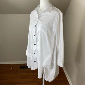 White Button Down Cotton Tunic with Baloon Hem XS
